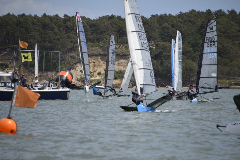 "Ben ""The Only One Foiling"" Payton at the start line on day 2"