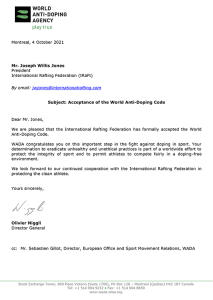 IRF becomes official WADA signatory letter