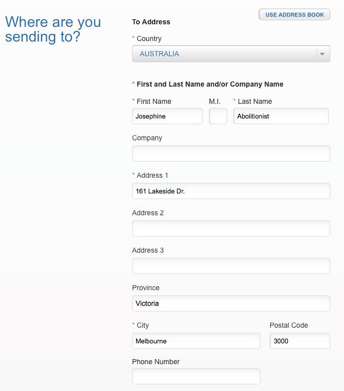 Sample Address Form