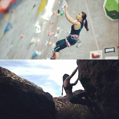 Lea climbing and competing