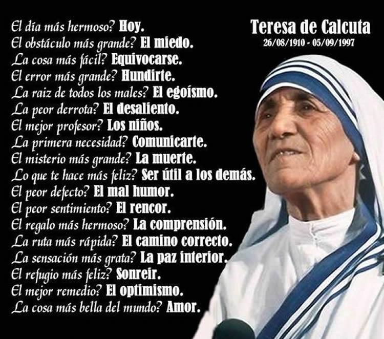 Las 15 Mejores Frases De La Madre Teresa De Calcuta Internesante