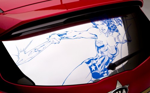 Wonder Woman Kia Sportage back window 500x312 Kia's Wonder Woman Car Is Not Invisible