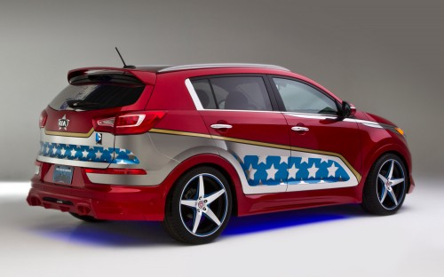 Wonder Woman Kia Sportage rear three quarters 500x312 Kia's Wonder Woman Car Is Not Invisible