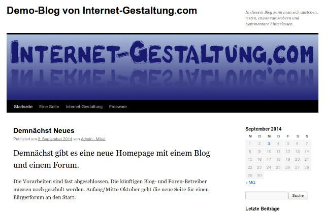Blog Internet-Gestaltung - Bildschirmfoto