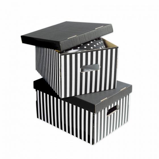 boite de rangement en carton raye noir blanc 2 pieces