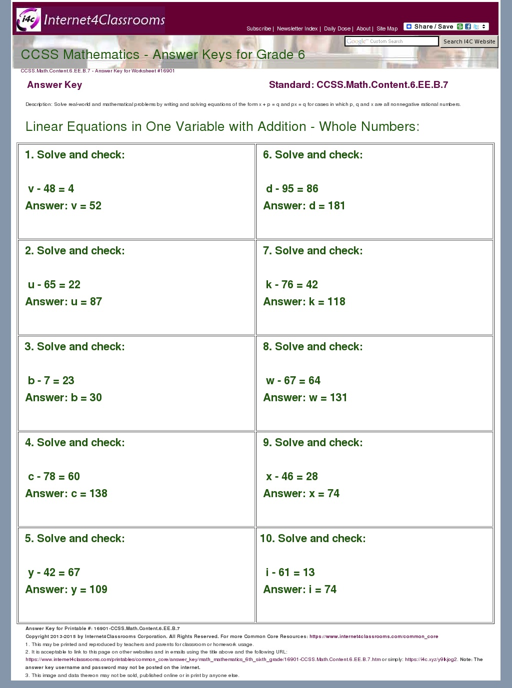 Math Worksheet Grade 6 Common Core