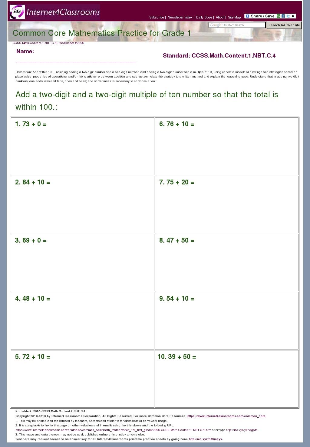 1st Grade Common Core Math Worksheet Addition