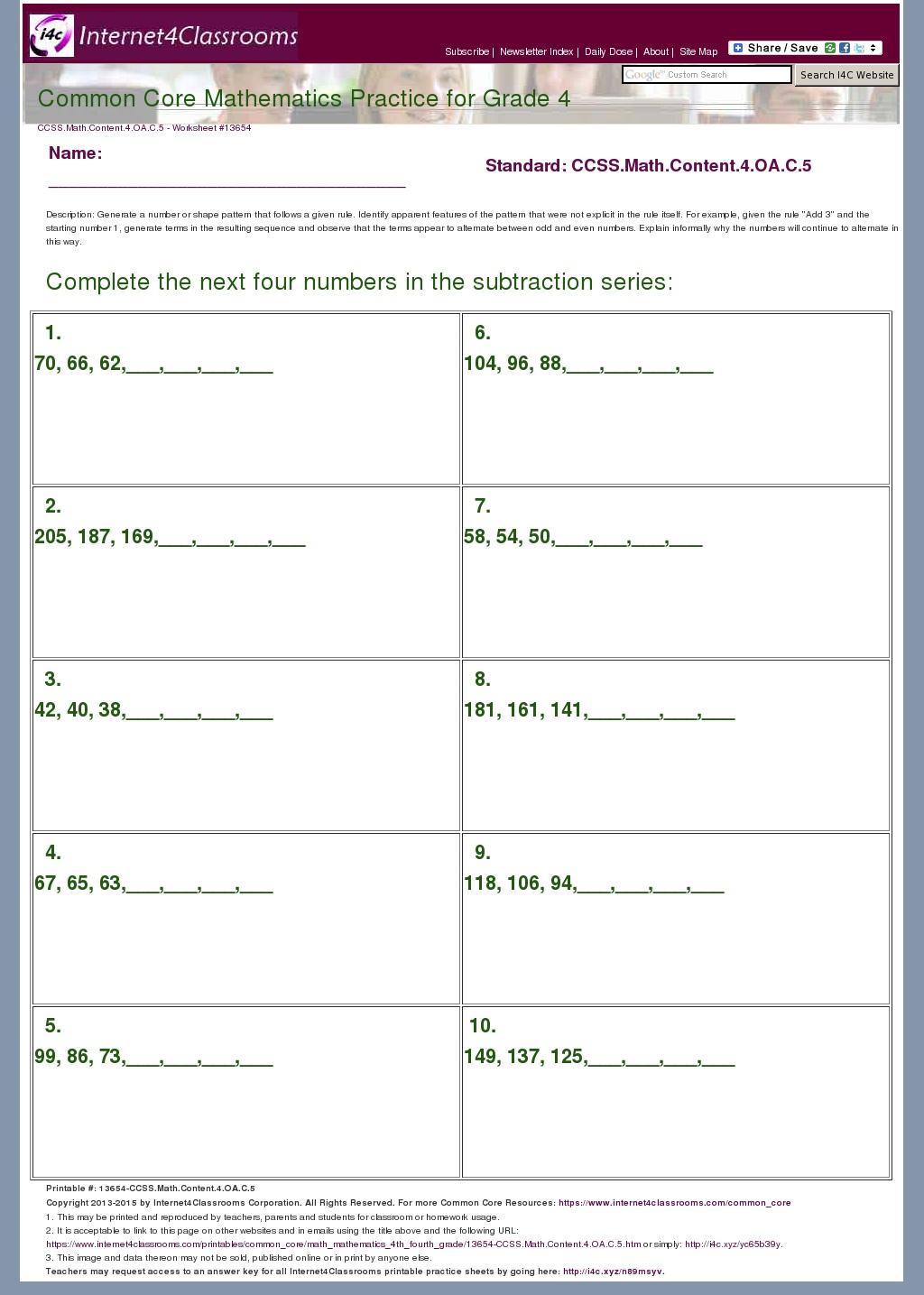 Common Core 4 Oa 3 Worksheet