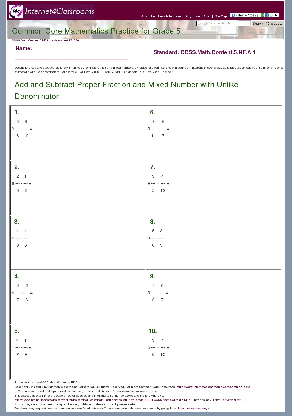 Mixed Fraction Worksheets Grade 5