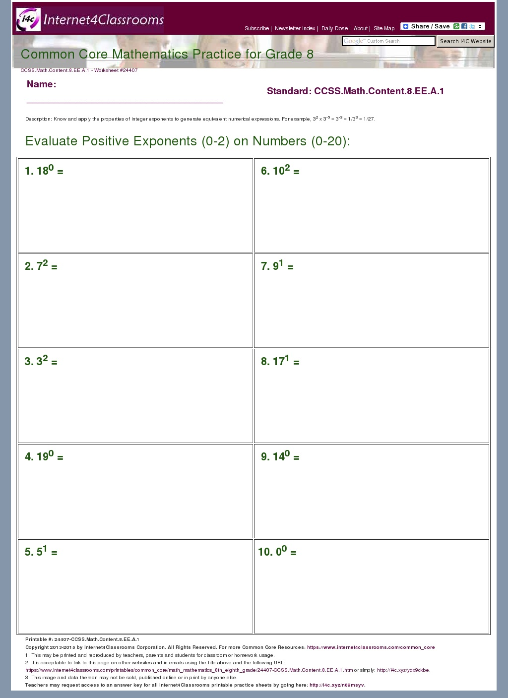 Evaluate Expressions With Exponents Worksheet