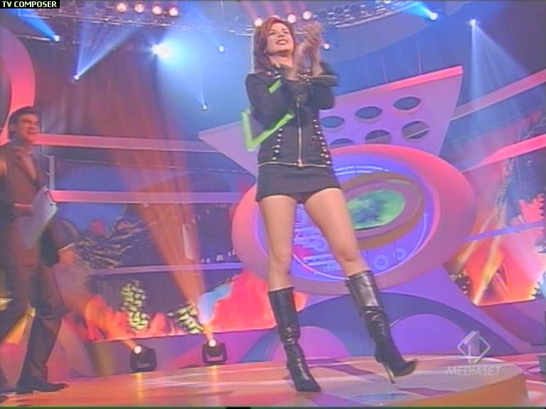 Elisabetta Canalis in black boots