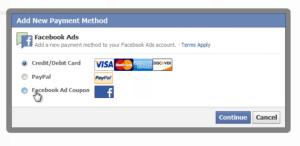 Facebook Coupon Code Apply