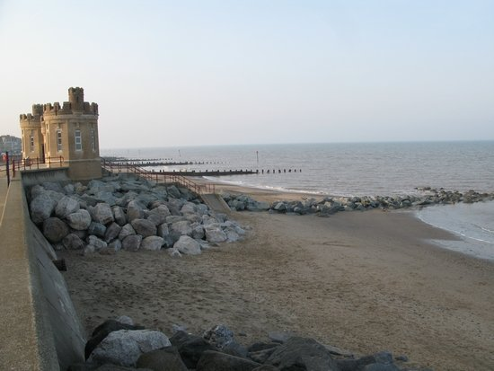 Sea wall, rock armour and groynes at Withernsea.