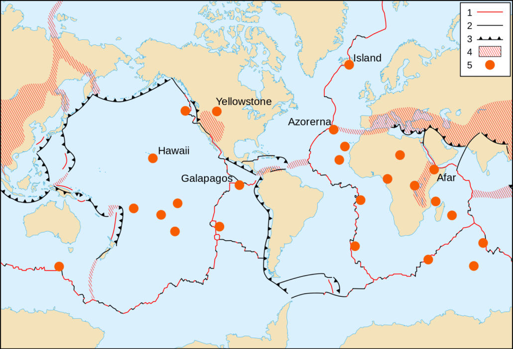 A map to show volcanic hotspots