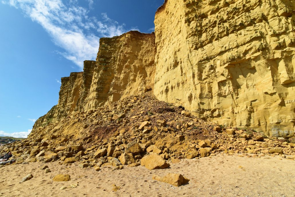 Landslide at West Bay on Dorset's Jurassic Coast.