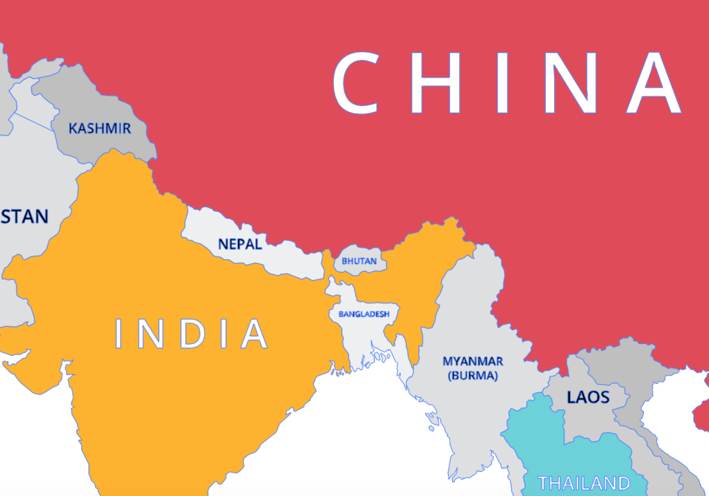 A map to show the location of Nepal in Asia