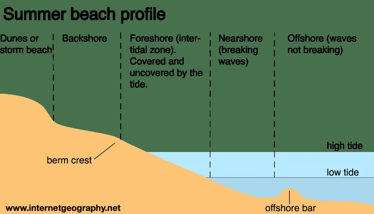 Beach Profile landforms of coastal deposition internet geography