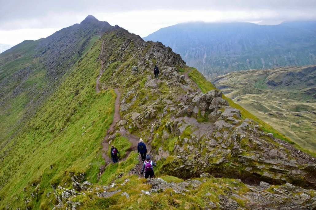 Striding Edge, an arete in the Lake District.