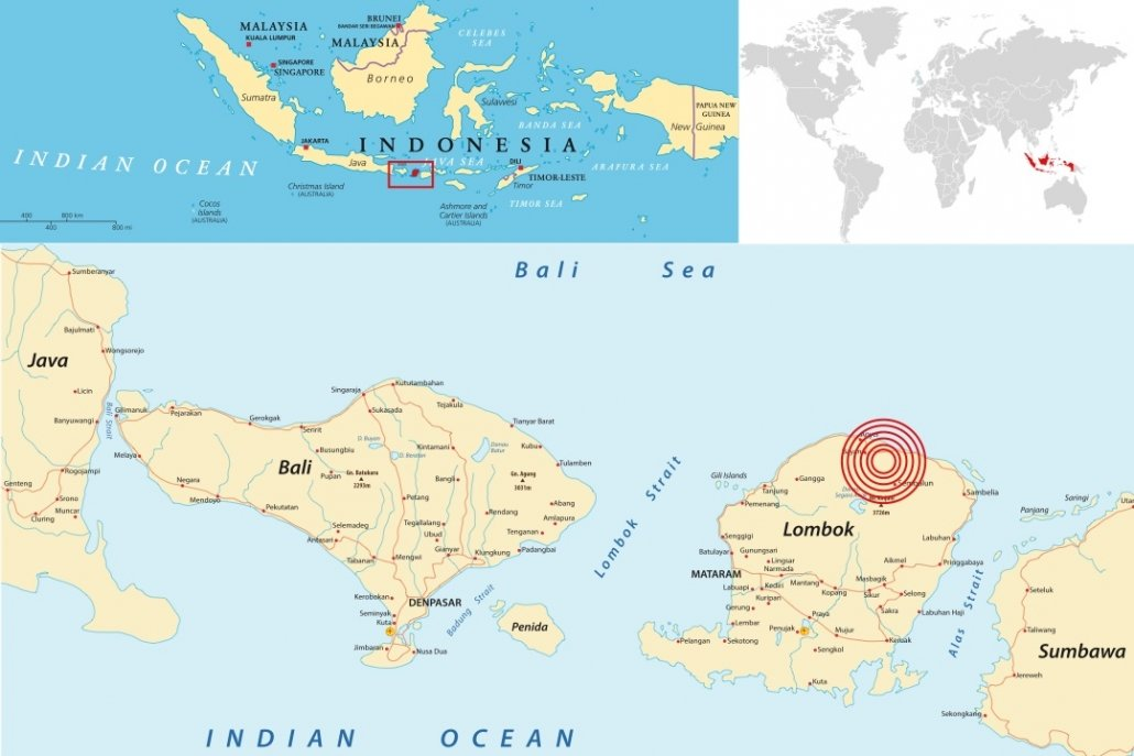 Location of the August 5th 2018 Lombok earthquake
