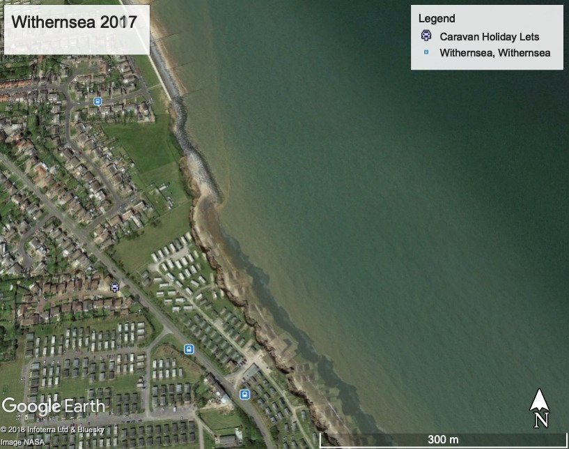 2007 and 2017 Withernsea Coastline merged