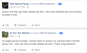 5BB Broadband Facebook review ISP Myanmar Internet