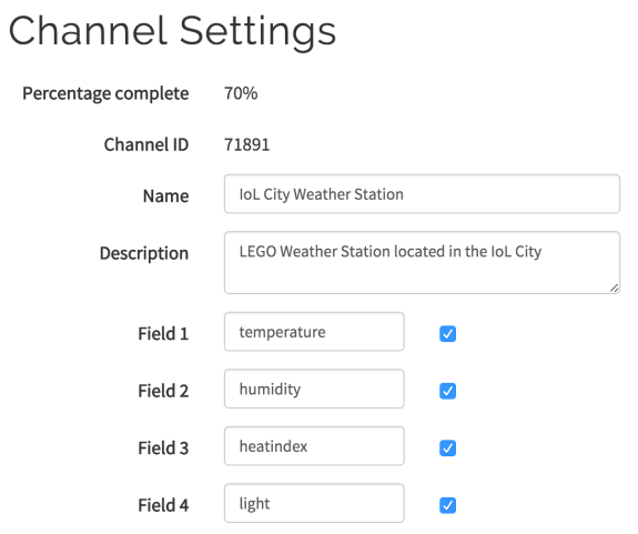 weather station thingspeak channel settings
