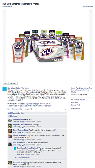 gu giveaway on another mother runner's facebook page