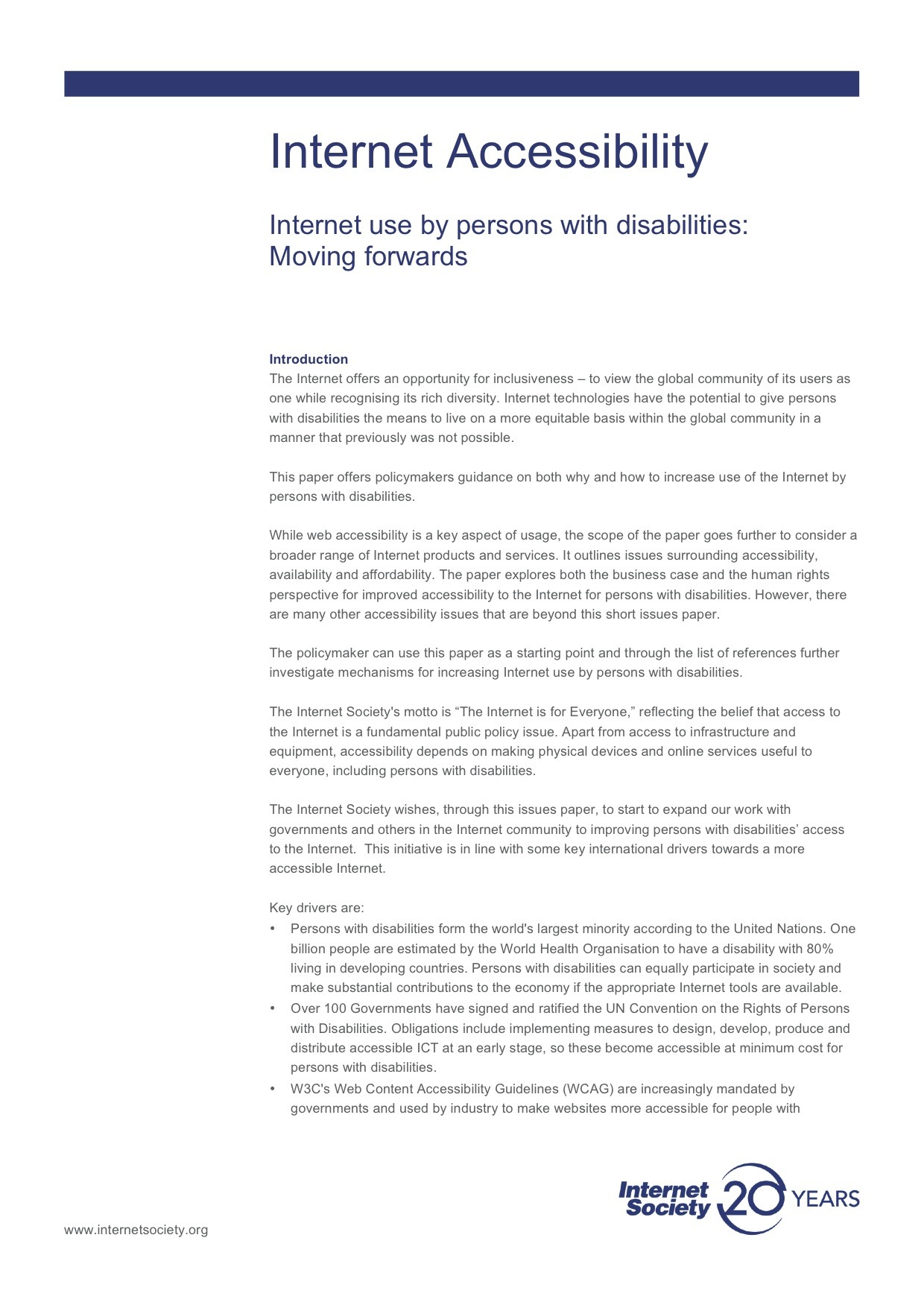 Internet Accessibility: Internet use by persons with disabilities ...