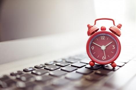 alarm clock on a keyboard