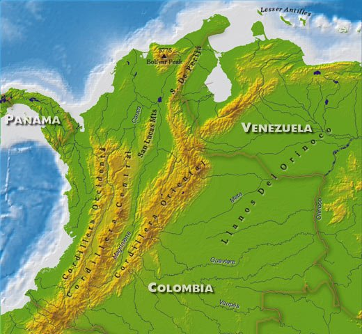 Cordillera Map South America