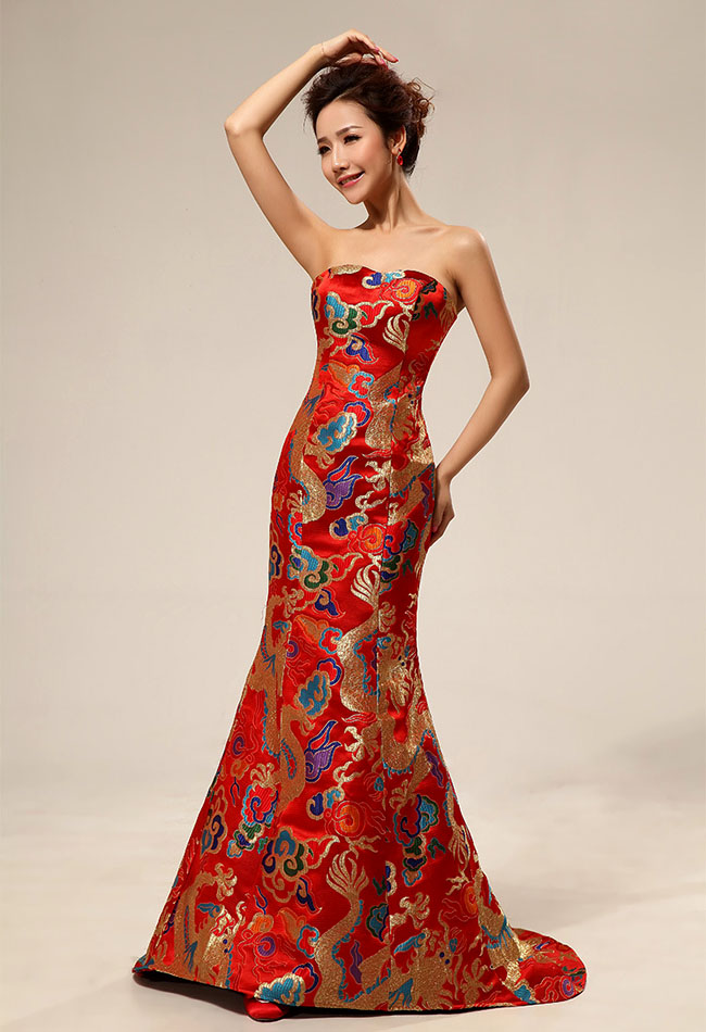 Asian inspired chinese red dresses internet vibes for Asian red wedding dresses