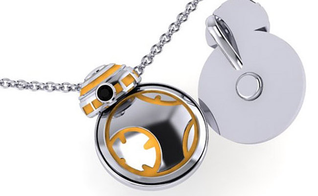 Star-Wars-BB8 Droid-Necklace-Silver-Yellow-Kinetic-Jewelry