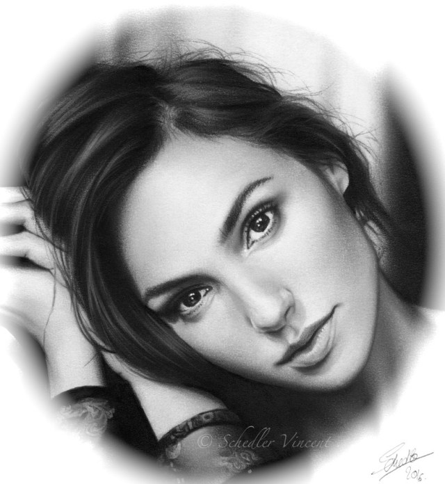 Gal Gadot drawing by Vincent Schedler