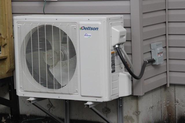 A heat pump cools