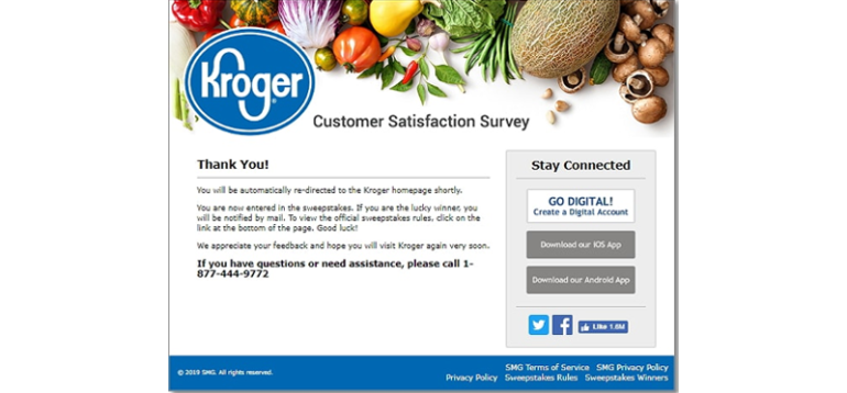 redeemable voucher and sweepstakes entry offered by KrogerFeedback