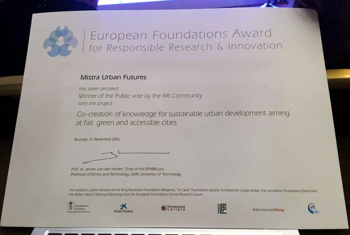 European Foundations Award for Responsible Research & Innovation, Brussels, 21 November 2016