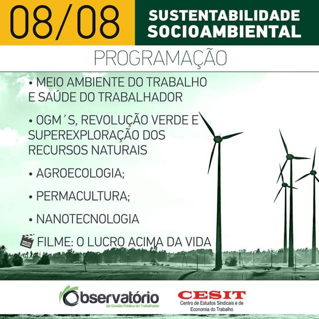 Observatório de Gestão Pública do Trabalhador e Cesit promovem curso de sustentabilidade socioambiental