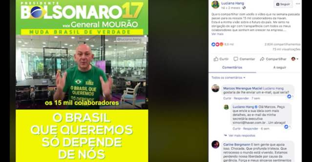 MPT processa Havan por coação pró-Bolsonaro de empregados