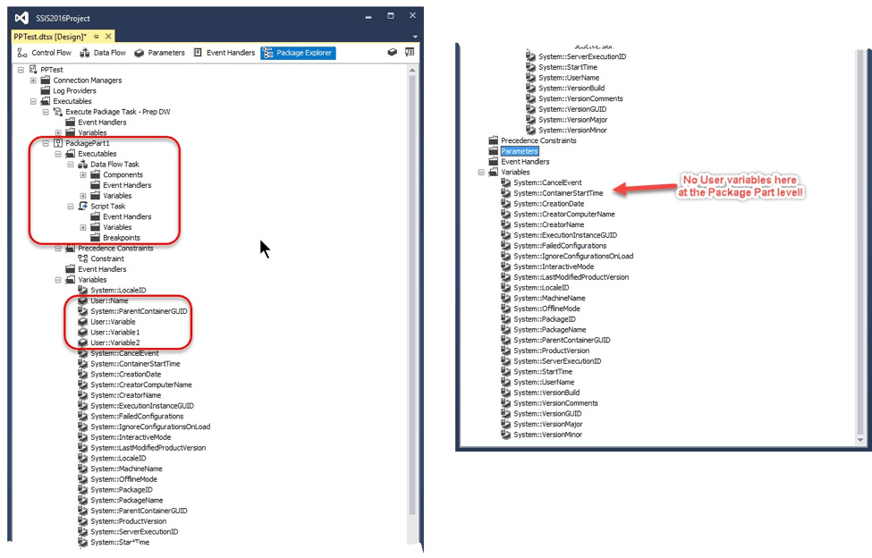 Package Explorer showing the contents of a package