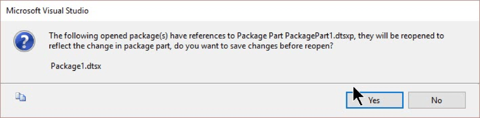 packages open when editing Package Parts