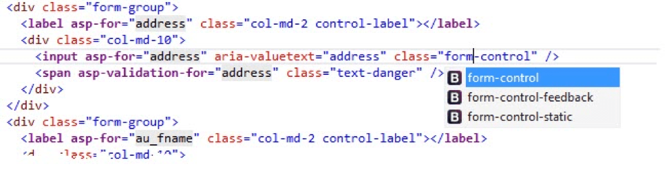ASP.NET Core MVC Tag Helpers are in purple