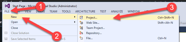 Create a new project in Visual Studio.
