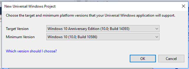 Select your target version and minimum version for your new Universal Windows Project.
