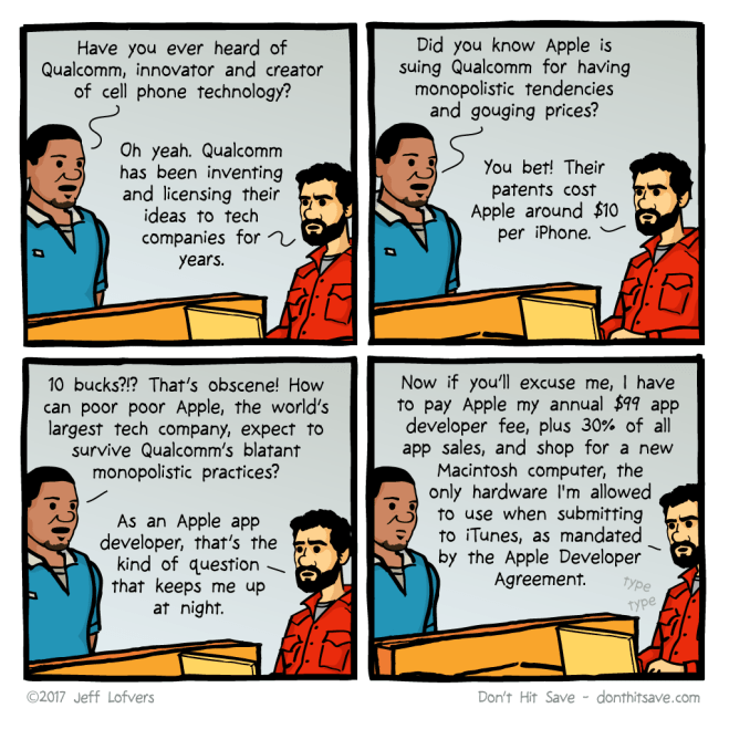 Comic about Qualcomm suing Apple
