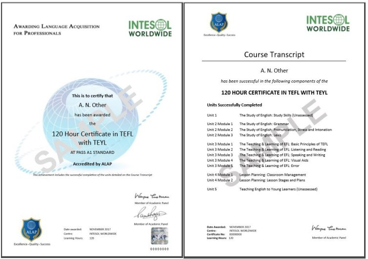 120 Hour TEFL Course with TEYL OR 140 Hour TEFL Course with TEYL ...