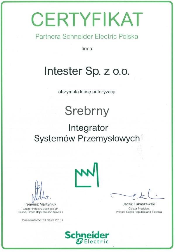 certyfikat systemy sterowania