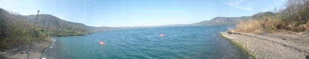 Our camera has a panorama feature.  Note the Pavliks in the kayak.