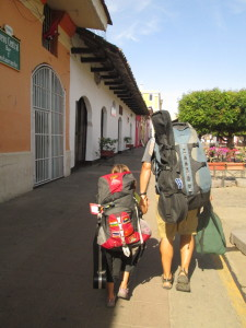 The travel guitar is affixed and ready to depart Granada with the rest of us.