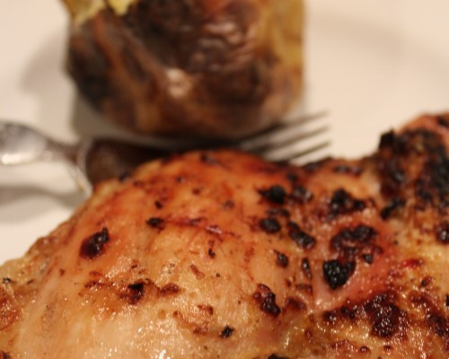 Zesty Lemon Garlic Grilled Chicken with Baked Potato