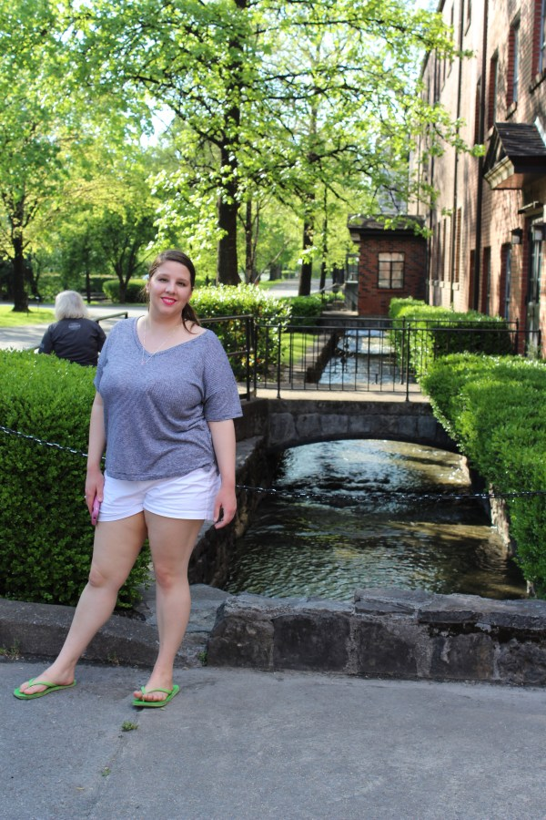 My beautiful daughter beside the flowing spring water.